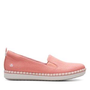 Clarks珊瑚色平底鞋
