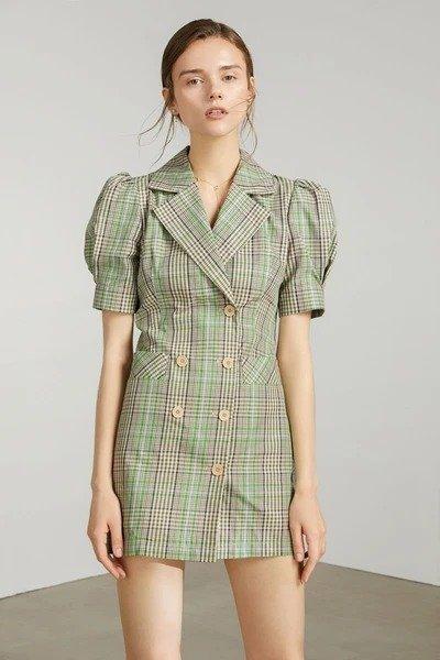 绿色格纹泡泡西装裙