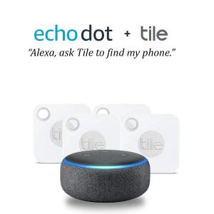 76.66(原价$148.39)Echo Dot 三代智能语音助手 + 4个 Tile 追踪器