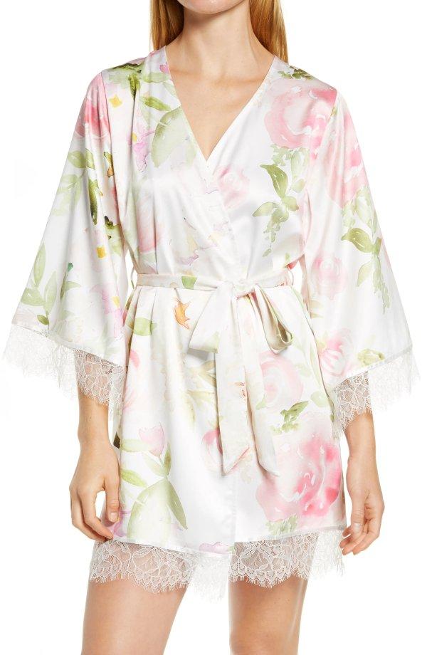 Fleur Floral 印花缎面睡袍