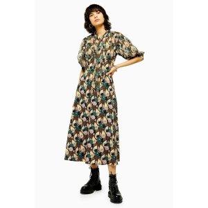 TopshopIDOL Art Deco Empire Lily Midi Dress
