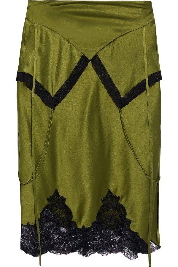 Lace-trimmed 蕾丝丝绸半身裙