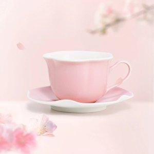 粉色樱花造型杯盘套装