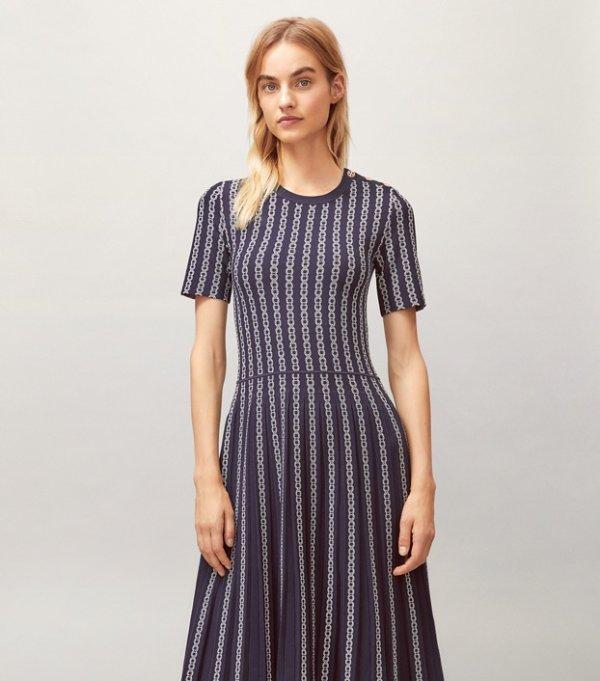 链条花纹长裙