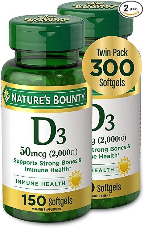 维生素D3 50mcg, 2000IU, 150粒软胶囊 2瓶