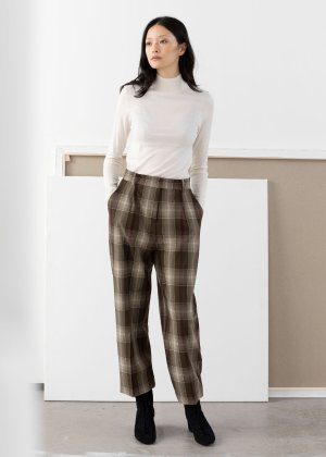 Tailored Plaid Pants - Brown Plaid - Cropped Trousers - & Other Stories