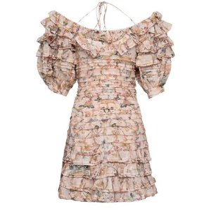 2ff993a6d6 ZimmermannOff-the-shoulder tiered printed linen and silk-blend mini dress