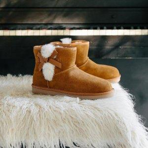 全场7.5折 封面蝴蝶结雪地靴$64Koolaburra UGG副牌全场大促 毛绒凉鞋、乐福鞋$44