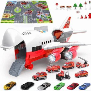 $37.31(原价$59.9)闪购:DHYY 12迷你玩具车+大型运输机+游戏毯套装