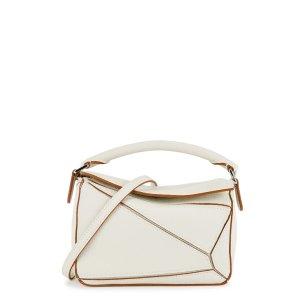 LoewePuzzle mini white leather cross-body bag