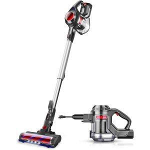 MOOSOO Cordless Vacuum, 4 in 1 Powerful Suction Stick Vacuum