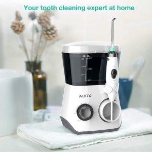 $39.99(原价$49.99)Abox 家用式电动水牙线/冲牙器 FDA认证 600ml大水箱+6个喷头