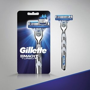 $2Gillette Mach3 Turbo Men's Razor, Handle & 1 Blade Refill (Packaging May Vary)