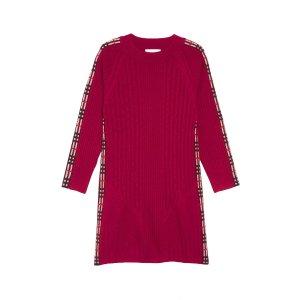 e6913ca50b BurberryKids Cathina Check Detail Wool & Cashmere Sweater Dress