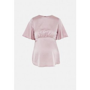 MissguidedPink Satin Flute Sleeve Maternity Blouse