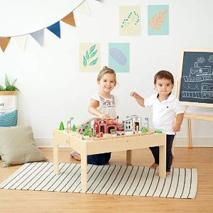 Teamson Kids - 85 Pcs Train Set and Table Wooden Tracks & Accessories Preschool Play Lab Toys