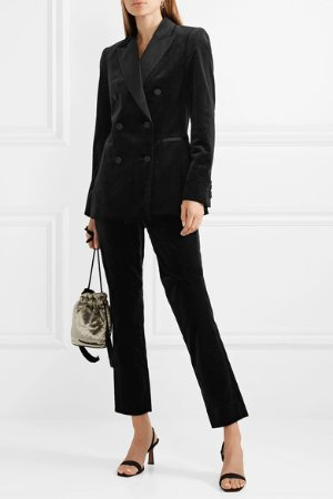 Theory | Double-breasted satin-trimmed cotton-velvet blazer | NET-A-PORTER.COM