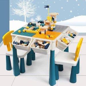 $76.28(上市价$109.89)KIDCHEER  7合1 儿童多功能游戏桌椅套装 送100块积木