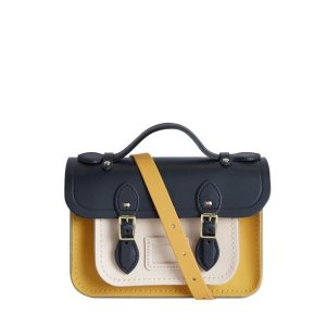 The Cambridge Satchel CompanyMagnetic Mini Satchel in Leather - Navy, Indian Yellow Matte & Chalk