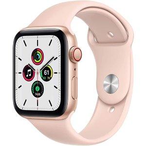 Apple金色表壳+粉色运动表带Watch SE (GPS + 蜂窝网络, 44mm)