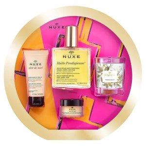 Nuxe含金油+护手霜+润唇膏+香氛蜡烛护肤套装