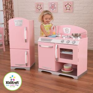 $119.99(原价$244.99)史低价:KidKraft 木质豪华厨房和冰箱儿童玩具 粉色