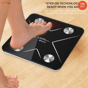 $21.49(原价$25.29)LIVINGbasics 蓝牙智能体重秤 健身减肥达人体重追踪必备