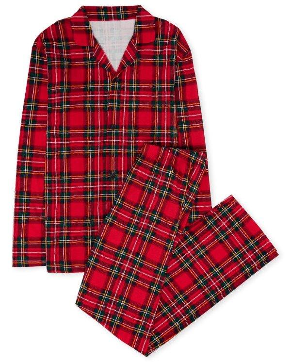 爸爸妈妈穿 格纹全棉睡衣套装