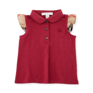 796bcd1b793 BurberryTia Cotton-Stretch Polo Shirt w  Ruffle Check Sleeves