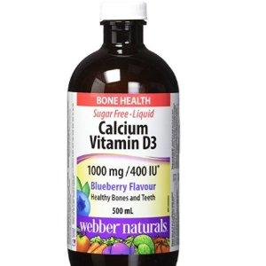 $9.83(原价$13.99)Webber Naturals 液体钙含 维他命D3(蓝莓口味)