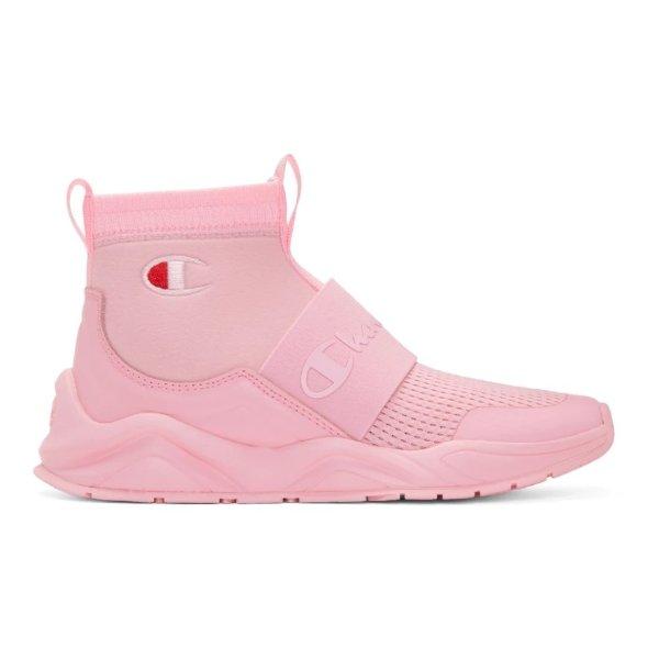 粉色logo运动鞋