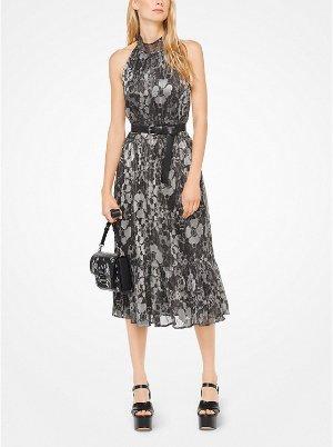 Metallic Floral Halter Dress