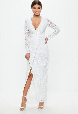 Missguided - Bridal White Sequin Embellishment Wrap Dress