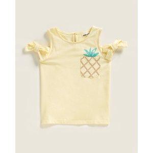 Mini Series(Girls 4-6x) Cold Shoulder Pineapple Top