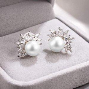 $7.99 (原价$13.49)Cat Eye Jewels 优雅珍珠耳环特卖 夏日新娘单品推荐
