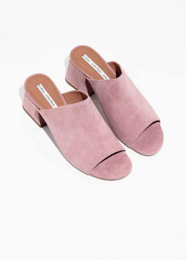 粉色穆勒鞋