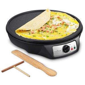$23NutriChef 12英寸不粘摊煎饼炉 包括木制煎饼刮板