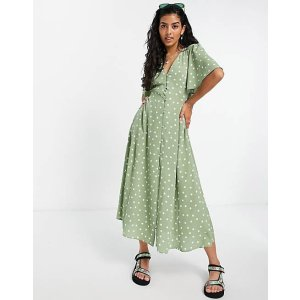 绿色波点茶歇裙