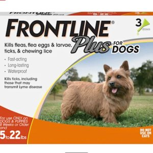 $36.99 25% off $50+FRONTLINE Plus Flea and Tick Treatment for Small Dogs Upto 5 to 22 lbs., 3 Treatments