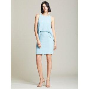 Halston皱褶绉纱连衣裙