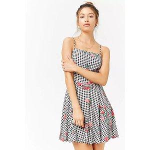 Floral Gingham Skater Mini Dress