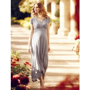 High-low Geo Print Maternity Maxi Dress