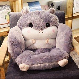 灰色小仓鼠坐垫靠背一体