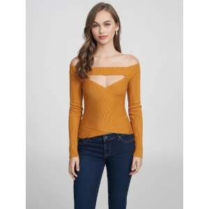 Dina Off-The-Shoulder Crossover Sweater at Guess