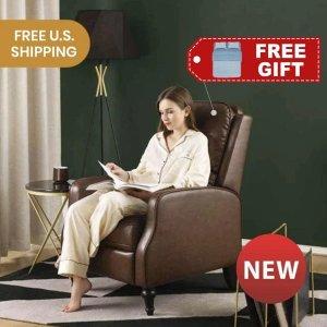 LIFEASE送蓝色条纹全棉床品4件套美式扶手推背椅 复古皮款