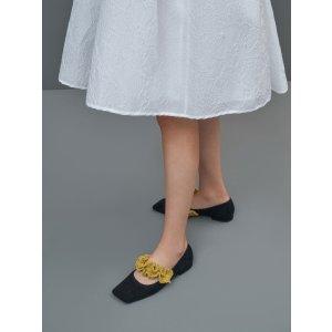 Charles & KeithBlack Textured Ruffle Strap Mary Janes | CHARLES & KEITH