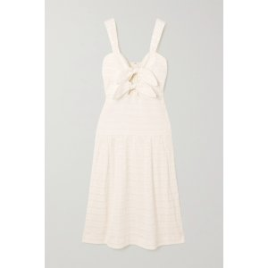 Rebecca vallanceJame bow-embellished cutout shirred seersucker midi dress