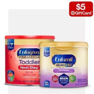 买2送$5礼卡Target 精选婴幼儿奶粉热卖