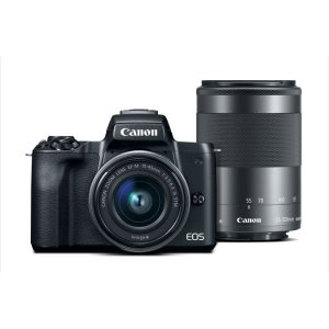 CanonRefurbished EOS M50 EF-M 15-45mm & 55-200mm Bundle Black