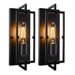 $24.99Set of 2 Industrial Wall Sconces Black Rustic Indoor Wall Lanterns with Glass Shade